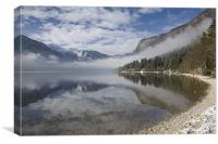 mist burning off Lake Bohinj, Canvas Print
