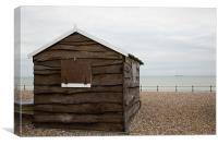 Beach hut at Kingsdown, Canvas Print