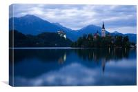 Dusk over Lake Bled, Canvas Print