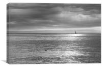 Sailing the silver sea., Canvas Print