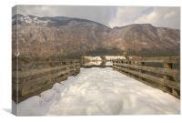 Snowy alpine lake, Canvas Print