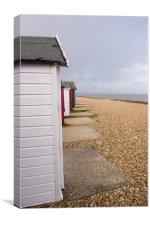 Colourful beach huts in Calshot, Canvas Print