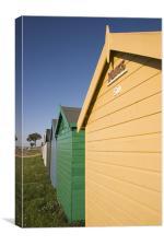 Colourful beach huts in Calshot., Canvas Print