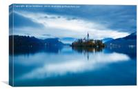 Autumn dusk at Lake Bled, Canvas Print