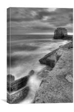 Portland Bill Seascape in Black and White HDR, Canvas Print