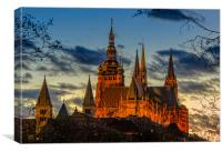 Evening light over cathedral, Canvas Print