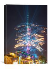 Ostankino tower fireworks, Canvas Print