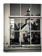 Window and church, Canvas Print