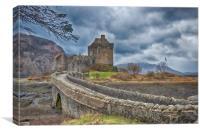Eilean Donan storm., Canvas Print