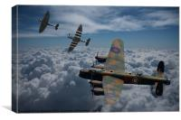 Lancaster Bomber and Spitfire Escort, Canvas Print