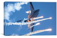 F16 firing flares, Canvas Print