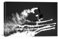 F16 firing flares B&W, Canvas Print