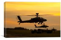 Three AH64 Apache at Sunset