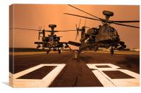 Two AH64 Apache and runway, Canvas Print