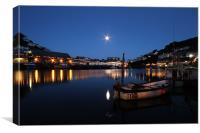 Looe Harbour at night, Canvas Print