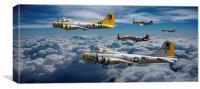 B17 Bomber escort, Canvas Print