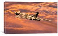 Vulcan XH558 at sunset, Canvas Print