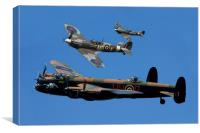 Lancaster Bomber and Spitfires, Canvas Print