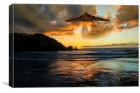 Vulcan Bomber Cornwall sunset, Canvas Print