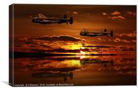 Two Lancaster Bomber at Sunset, Canvas Print