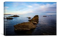 Hannafore Beach and rocks, Canvas Print