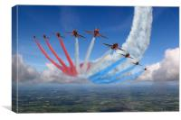 Red Arrows Smoke on Go, Canvas Print