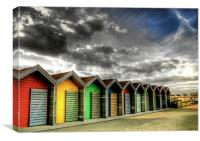 Beach Huts in Colour, Canvas Print