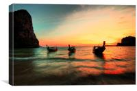 Railay Sunset and the Boats, Canvas Print
