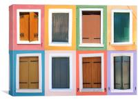 Burano Windows, Canvas Print