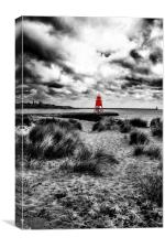Red Groyne in a Mono World, Canvas Print