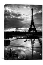 Black and White Paris Reflections, Canvas Print