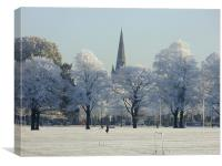 Snowy Trees and Spires at Northampton Racecourse, Canvas Print