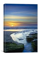 Sunset in the Stream at Trebarwith Strand, Canvas Print