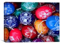 colorful painted Easter eggs, Canvas Print