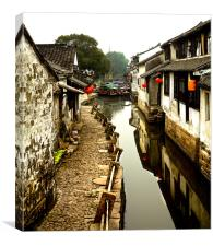 Chinese Watertown living, Canvas Print