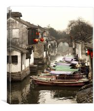 China Watertown Canal Boats, Canvas Print