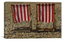 Red Deckchairs, Canvas Print