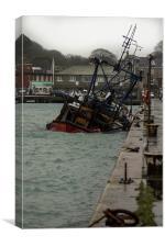 sunken boat in harbour