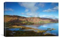View over Derwent Water to Cat Bells., Canvas Print