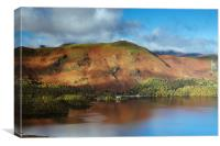 View over Derwent Water to Cat Bells., Canvas Print