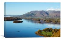 View from over Derwent Water to Keswick and Skidda, Canvas Print