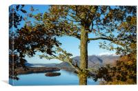 View over Derwent Water to Keswick and Skiddaw., Canvas Print
