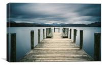 Jetty on Lake Windermere with Langdale Pikes beyon