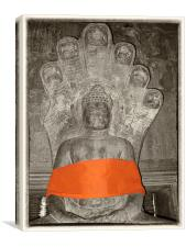 Budha with orange sash, Canvas Print