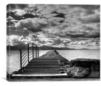 Lake Geneva Clouds Monochrome, Canvas Print