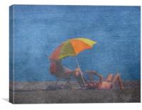 Beach Brolly, Canvas Print