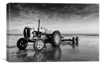 Cromer Beach tractor, Canvas Print