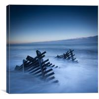 Caistor beach defences, Canvas Print