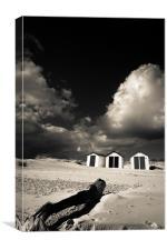 Three beach huts, Canvas Print