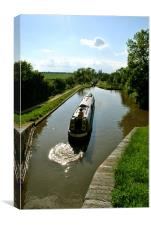 Exiting the Lock on the Droitwich Canal, Canvas Print